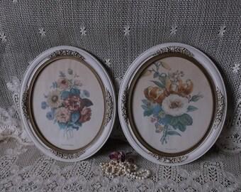 Shabby Cottage, Vintage Large oval framed floral prints, botanical pictures, PAIR, faded time worn