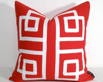 SALE - Red Geometric Pillow Cover, Modern Outdoor Throw Pillow Case, Crimson White Lattice, Decorative Sunbrella Outdoor Cushion 16""
