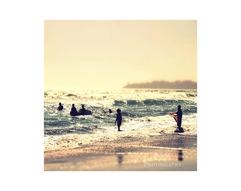 Surfer Photo. Beach Photography. Silhouettes. Ocean. Gold. Blue. Summer. California. Waves. people on the beach. home decor