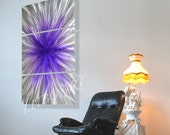 art painted grind METAL abstract wall sculpture modern 3D Video purple violet Original hand made artwork painting decor Artist Lubo Naydenov
