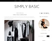 Blogger Template Premade Blog Design - Black and White Responsive Theme - Instant Download Simply Basic