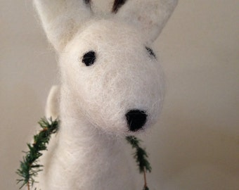 White Wool Needle Felted Woodland Deer