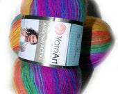 Yarn Art Angora Active. Multicolor yarn, batik yarn. Rainbow colours 850 Light yarn, mohair yarn Gradient yarn Wholesale. Set of 5 hanks DSH