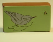 Ceramic bird art block- perfect for sitting on a window sill, shelf or hanging on your wall.