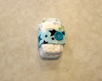 Sale Riley Blake All Star Blue and Brown Star Diaper Strap with Matching Teal Button