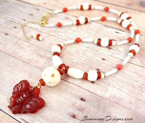 Carnelian, Bone, Horn, Mother-of-Pearl and Coral Necklace