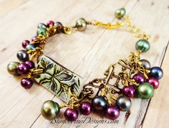 Peacock Pearls Bracelet, Ceramic, Freshwater Pearls and Antique Brass Filigree Bracelet, Green and Purple Jewelry