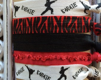 FOE Elastic Hair Ties Karate Collection Red Black White Toddlers Girls Women -Set of 5-