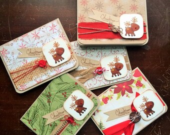 Christmas Thank You Cards set of 5 - Reindeer Cards - Reindeer Thank You Cards