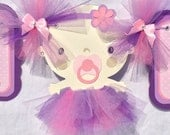 Baby shower banner, baby with tutu, its a girl banner, pink, purple and lilac
