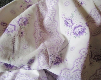Vintage French Fabric Lilac Roses Rosebuds Faded Stripes Scrolls Suitable for Patchwork Quilting Lavender Bags Feedsack Pillow