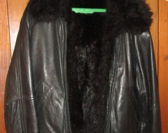 Andrew MarcBlack Leather Jacket with removable fur lining