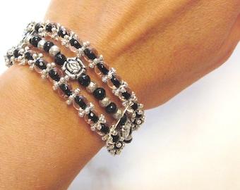 Black Silver Bracelet Strand Wide Elegant