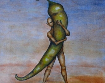 Strong love. Small original, surreal oil painting on stretched canvas by artist Ilse Hviid, Hot green pepper and human figure, veggie humor