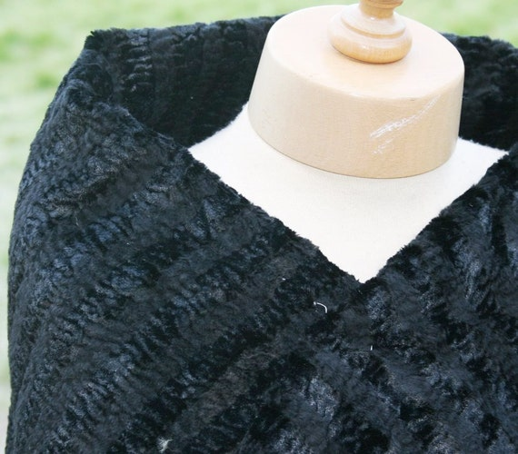 """FAUX FUR One piece only, top quality vintage faux fur fabric in black with self stripe size 12"""" x 36"""""""