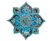 Mandala wall decor made from ceramic - outdoor wall art - ceramic tile - mandala 3 cutout - turquoise