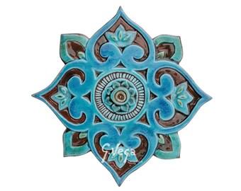 Mandala wall decor made from ceramic - outdoor wall art - ceramic tile - mandala 3 cutout - turquoise