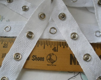 """White Snap Tape Cotton Twill 1"""" spaced silver metal 3/4"""" wide BTY fasteners Yards cool hanger trim crafts 8mm 12L snaps lightweight tape"""