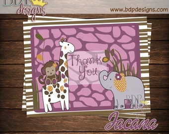 "Jacana Giraffe Jungle Girl Baby Shower Thank you Card (4.25""x5.5"")"