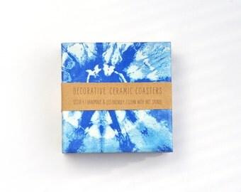Shibori Pattern Coasters Royal Blue Upcycled Ceramic Tile Coasters Hostess Gift set of 4
