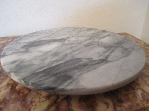 Gray Marble Lazy Susan Turntable Vintage Serving Table Ware