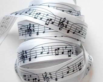 Music Ribbon, Ribbon with Musical notes,  5 YARD ROLL,  7/8 inches wide, Sheet Music Notes, Band, School, Musical, Black on White Ribbon