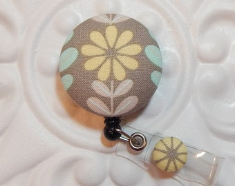 Retractable Badge Holder Id Reel  Fabric Covered Button  Yellow And Gray