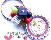 Teacher  Personalized  Valentines  Beaded Bottle Cap Key Chain - Made to order