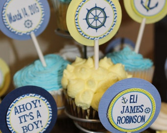 Sailboat Blue and Yellow Cupcake Toppers