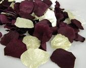 Rose Petals Gold and Burgundy Wine Maroon | 200 BULK Flower Petals | Artifical Petals | Flower Girl Petals | Wedding Ceremony Decoration