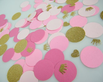 Pink & Gold  Party Decoration Confetti / Little Princess Party / It's a Girl / Gold Glitter Crowns / First Birthday Girl  / Table Scatter /