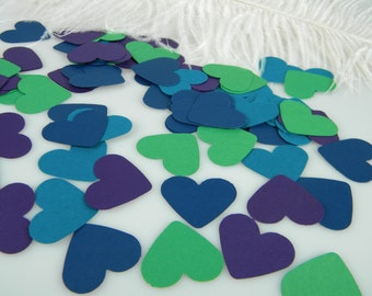 Confetti Peacock Wedding Heart Decorations with optional faux diamonds | Table Decor | Party Decoration | Peacock Theme Event