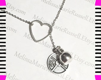 Heart, kettle bell and weight, plate, silver lariat necklace, plate, lift, crossfit, fitness, handmade jewelry, birthday, christmas, mom