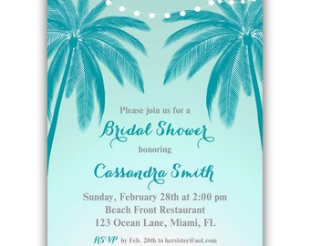 Palm Tree Invitation Printable or Printed with FREE SHIPPING  - Personalized for Your- Birthday, Anniversary, Shower - Beach Scene