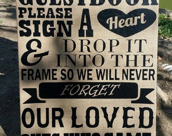 Rustic Burlap Sign for Wedding and Bridal Shower Guestbook Please Sign a Heart 9x12