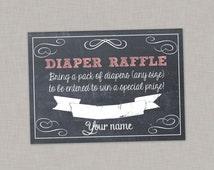 50% OFF Diaper Raffle Card, Baby Shower, Girl, Chalkboard, Printable