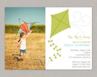 Kite Invitation, Kite Birthday Invitation, Kite Party, Summer, Park
