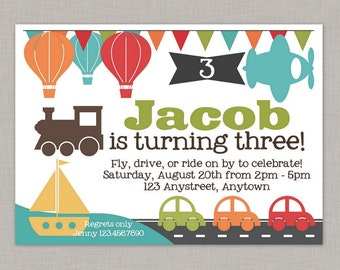 Transportation Invitation, Transportation Birthday Invitation