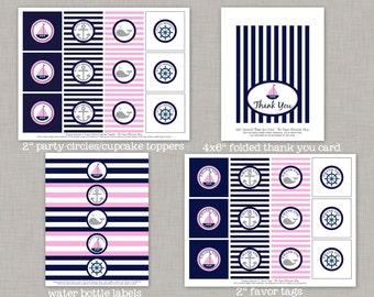 50% OFF Nautical Birthday, Nautical Birthday Decorations, Nautical Party, Girl, Printable