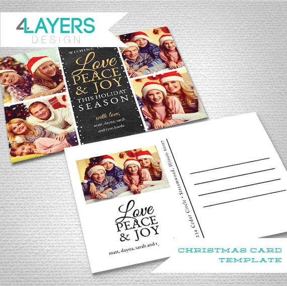 Christmas Card Template Love Joy Peace Psd