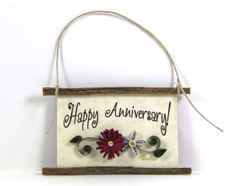Paper Quilled Magnet 398 - Happy Anniversary, Husband and Wife Gift, Kitchen Decor, Anniversary Ornament, 3D Paper Quilling, Couples Gift