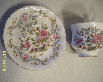 Royal Standard Fine Bone China Made in England Mandarin Cup and Saucer Pink and Blue