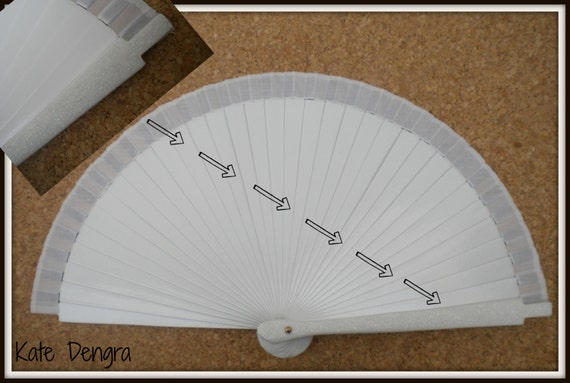 White Wedding Hand Fan with Glitter