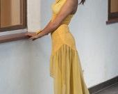 Yellow dress, crochet dress, chiffon dress, halter dress, summer dress, see through dress, unique dress