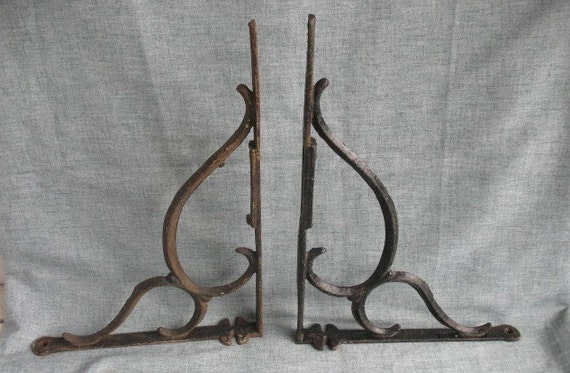 2 Vintage Cast Iron Wall Brackets Corbels Ornate Scroll Design