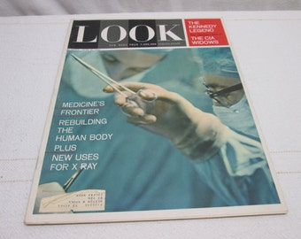 Look Magazine June 1964, Kennedy CIA  Budweiser Beer ads Campbell Soup kitchen decor, vintage advertising