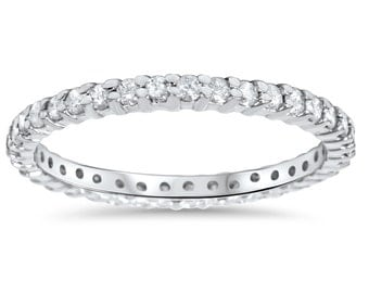 1/2CT Diamond Eternity Stackable Ring White Gold Size 4-9