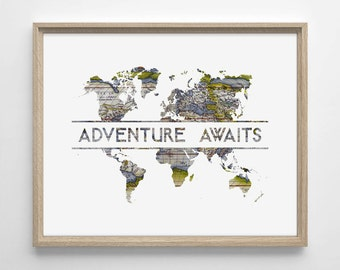 Adventure Awaits, World Map, Art Deco Typography, Minimialistic, Simplistic Home, Nursery Print, Wedding Gift Various Sizes Giclee Art Print