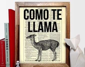 Como Te Llama Typography, Home, Kitchen, Nursery, Office Decor, Wedding Gift, Eco Friendly Book Art, Vintage Dictionary Print, 8 x 10 in.