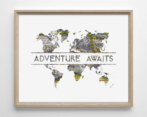 Adventure awaits world map art deco typography like this item gumiabroncs Images
